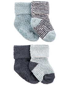 Baby Boys Four-Pack Chenille Booties