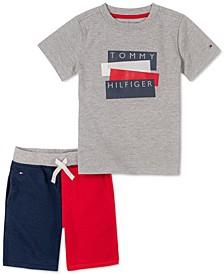 Baby Boys 2-Pc. Short-Sleeve Logo T-Shirt & Colorblock Terry Shorts Set