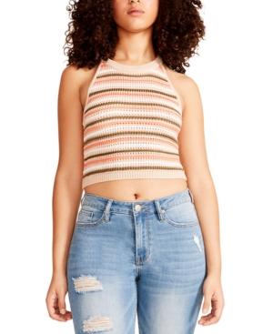 Juniors' Halter-Neck Striped Knit Top