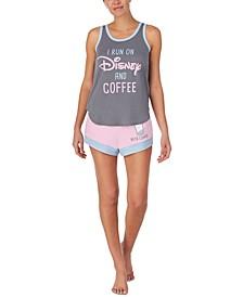 Disney & Coffee Tank Top & Shorts Pajama Set