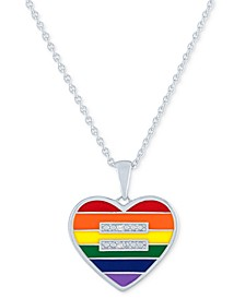 """Diamond Accent Rainbow Heart Pendant Necklace in Sterling Silver, 16"""" + 4"""" extender"""