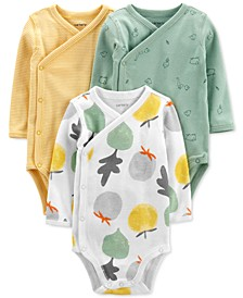 Baby Boys or Girls 3-Pack Fruit, Animal & Striped Side-Snap Bodysuits