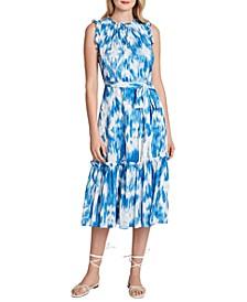 Printed Crinkle Ruffled-Neck Dress
