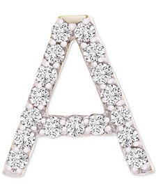 Diamond Initial A Single Stud Earring (1/20 ct. t.w.) in 14k Gold, Created for Macy's