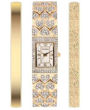 Women's Heart Shape Tank Style 3 Piece Gold-Tone Strap Watch and Bracelets Set