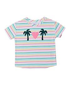 Little Girls Short Sleeve Flip Sequin Graphic Tee