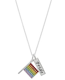 """Rainbow Crystal Pride Flag Pendant Necklace in Sterling Silver, 16"""" + 2"""" extender"""
