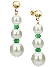 Cultured Freshwater Pearl (5-9mm) & Emerald (1-3/8 ct. t.w.) Graduated Drop Earrings in 14k Gold (Also in Ruby & Sapphire)