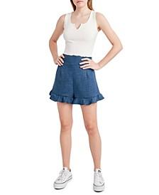 High-Rise Ruffled-Hem Shorts