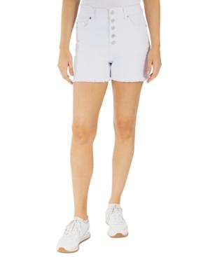 Juniors' Curvy Frayed-Hem High-Rise Buttoned Shorts