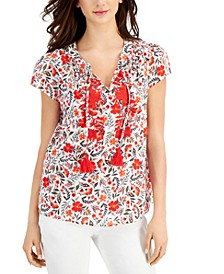 Petite Embroidered Puff-Sleeve Top, Created for Macy's