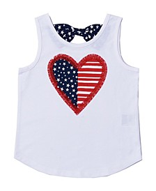 Little Girls Americana Graphic Bow Back Tank Top