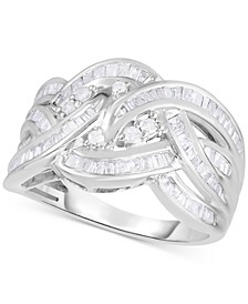 Diamond Baguette Crossover Statement Ring (1 ct. t.w.) in Sterling Silver