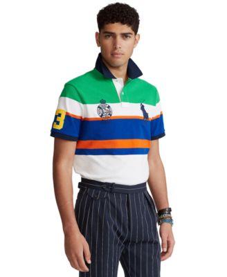 폴로 랄프로렌 Polo Ralph Lauren Mens Custom Slim Fit Striped Mesh Polo Shirt,Golf Green Multi