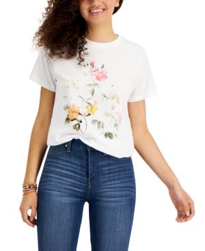 Juniors' Floral-Print T-Shirt