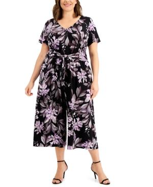 Plus Size Floral-Print Front-Tie Jumpsuit