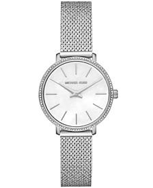 Women's Pyper Silver-Tone Stainless Steel Crystal Mesh Bracelet Watch 32mm