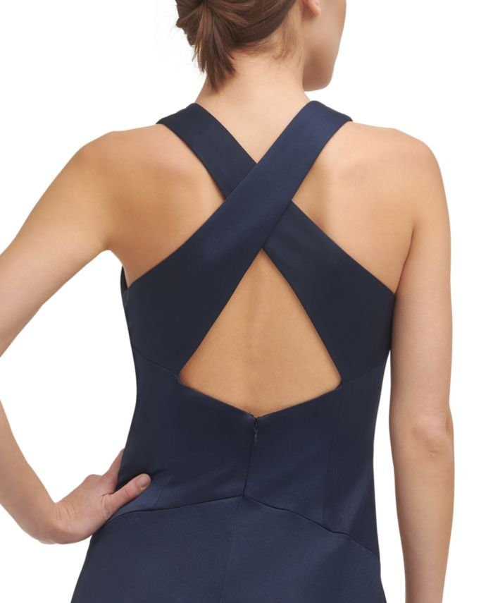 Vince Camuto Embellished Cross-Back Gown & Reviews - Dresses - Women - Macy's
