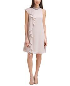 Embellished-Neck Ruffled Chiffon Sheath Dress