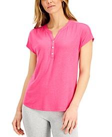 Dolman-Sleeve Henley Linen-Blend Top, Created for Macy's