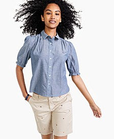 Button-Down Puff-Sleeve Chambray Top