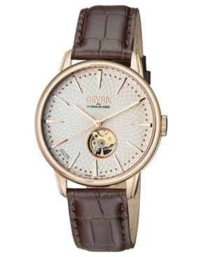 Men's Mulberry Swiss Automatic Brown Leather Strap Watch 42mm
