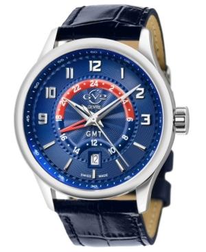 Men's Giromondo Swiss Quartz Blue Leather Strap Watch 42mm