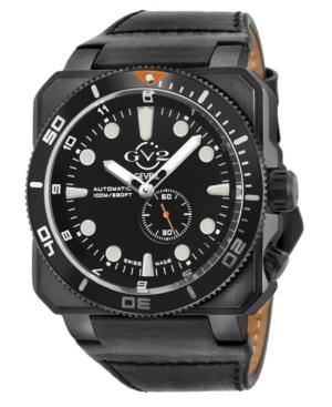 Men's Xo Submarine Swiss Automatic Black Italian Leather Strap Watch 48mm