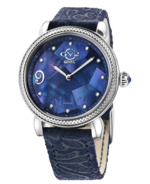 Women's Ravenna Floral Swiss Quartz Blue Italian Leather Strap Watch 37mm