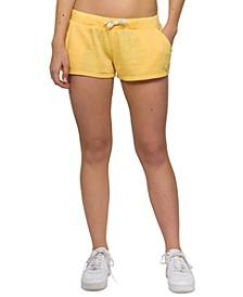 Juniors' Burn Out Fleece Shorts