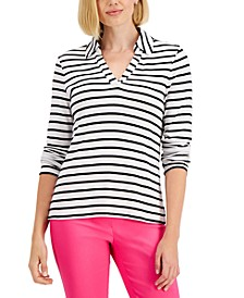 Petite Striped Cotton Polo Top, Created for Macy's