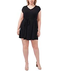 Trendy Plus Size Belted Jersey Dress