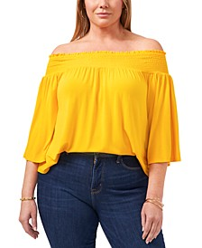 Trendy Plus Size Smocked Off-The-Shoulder Top