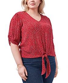 Trendy Plus Size Tie-Front Crinkle Top