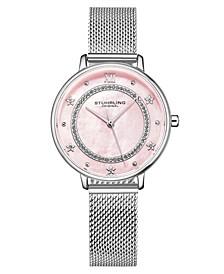Women's Quartz Silver-Tone Mesh Strap Watch 34mm