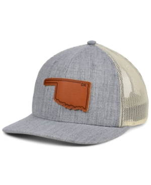 Local Crowns Oklahoma Heather Leather State Patch Curved Trucker Cap