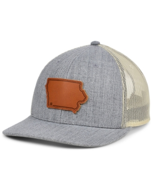 Local Crowns Iowa Heather Leather State Patch Curved Trucker Cap