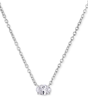 Lab-Created Diamond Oval Solitaire Pendant Necklace (1/4 ct. t.w.) in Sterling Silver