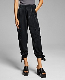 Women's Satin Cargo Pants