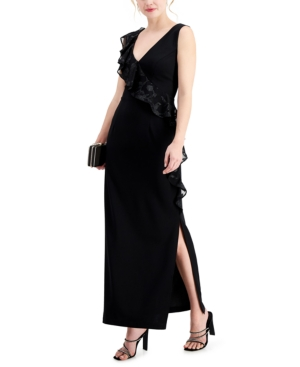 Ruffled Side-Slit Gown