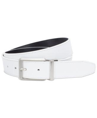 나이키 맨 골프웨어 골프 벨트 Nike Mens Reversible Textured Leather Belt, Created for Macys,White