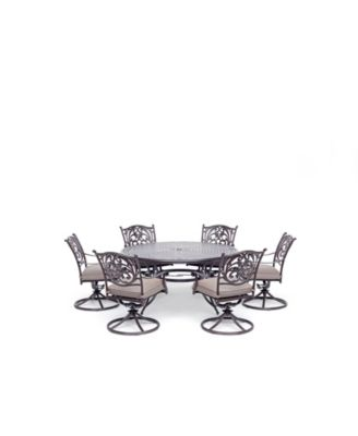 """Chateau Outdoor Aluminum 7-Pc. Set (60"""" Round Dining Table & 6 Swivel Rockers) with Sunbrella® Cushions, Created for Macy's"""