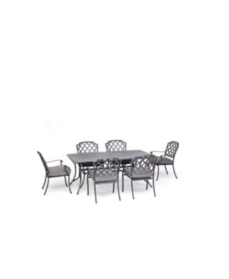 """Vintage II Outdoor 7-Pc. Dining Set (72"""" X 38"""" Table & 6 Dining Chairs) With Outdura® Cushions, Created for Macy's"""