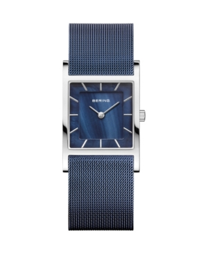 Women's Classic Blue Stainless Steel Mesh Strap Watch 26mm