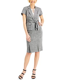 Belted Blazer & Pleated Skirt