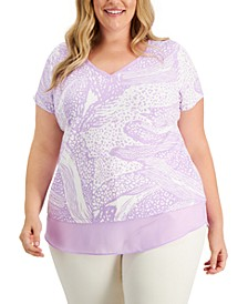 Plus Size Panther Patches Printed Layered-Look Top, Created for Macy's