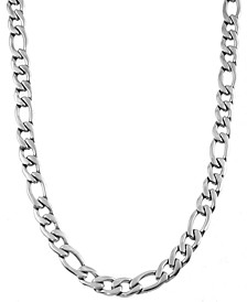 """Figaro Link 24"""" Chain Necklace in Stainless Steel"""