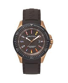 Men's Analog Blue Silicone Strap Watch 44mm