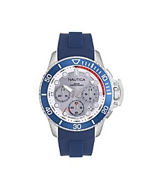 Men's Chronograph Blue Silicone Strap Watch 45mm