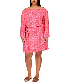 Plus Size Zebra-Printed Off-The-Shoulder Dress